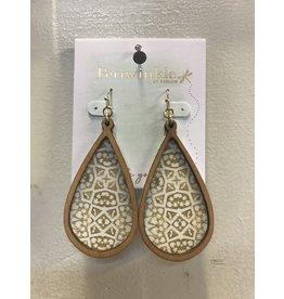 Wood Trim Gold White Earrings