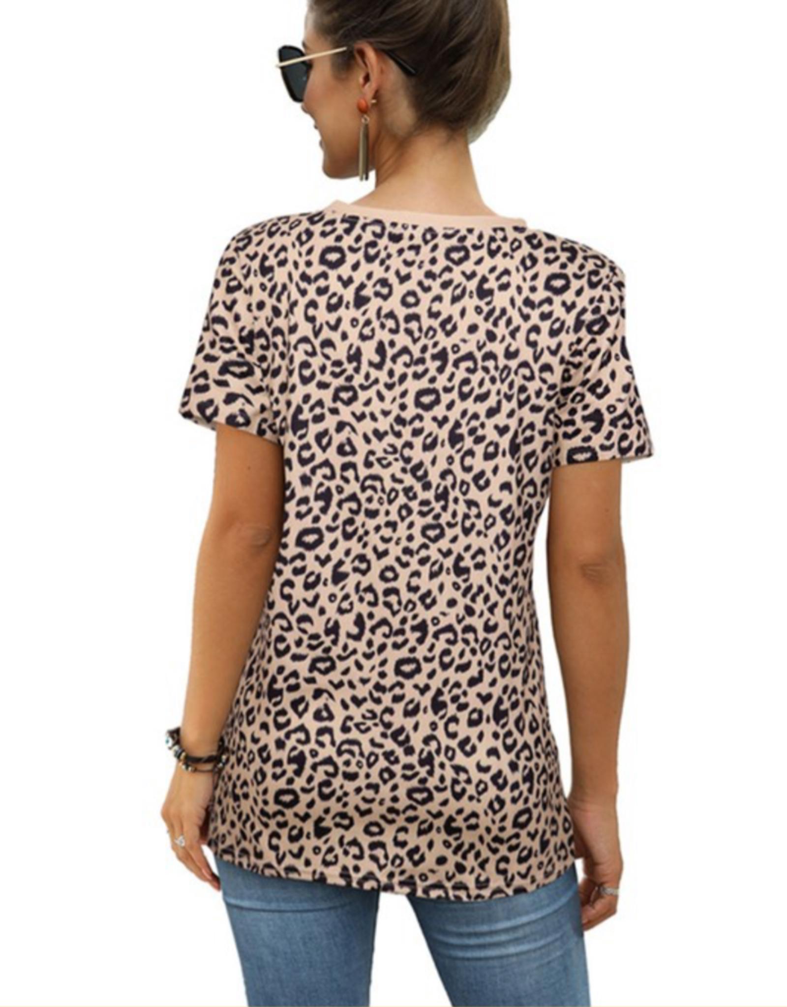 Round Neck Leopard Print Short Sleeve Top - Khaki