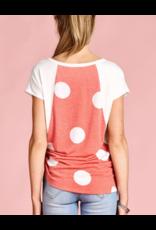 Coral and White Polka Dot Top