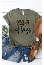 Mom of Boys T Shirt - Heather Olive