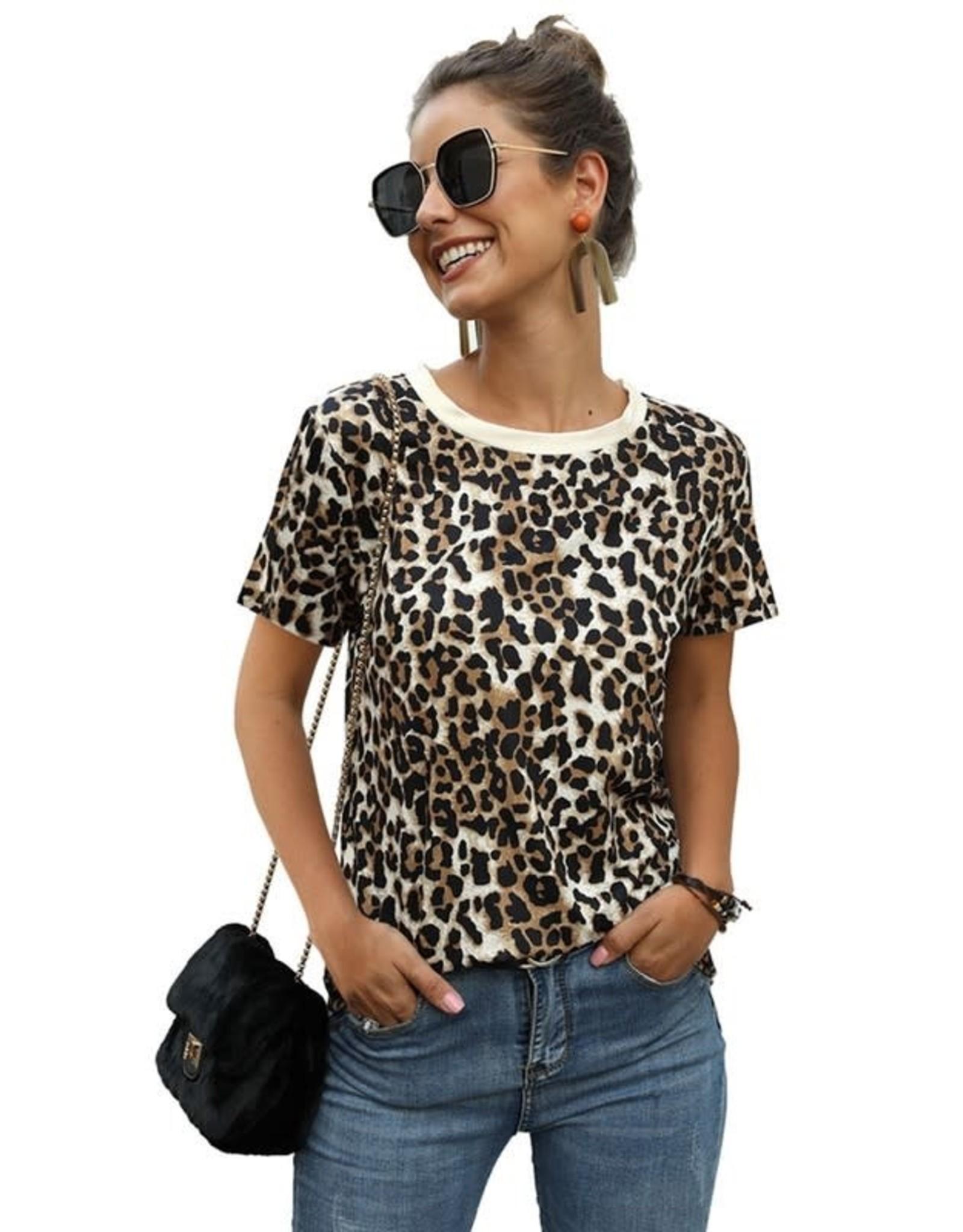Round Neck Leopard Print Short Sleeve Top - Brown