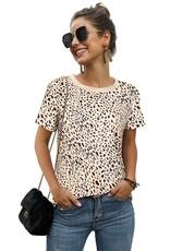 Round Neck Leopard Print Short Sleeve Top - Beige