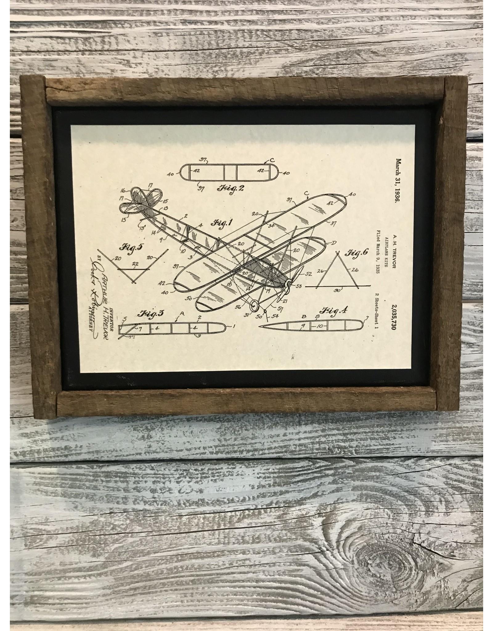 Airplane - Trevor - Patent Color & Frame: Parchment/Tobacco Stick