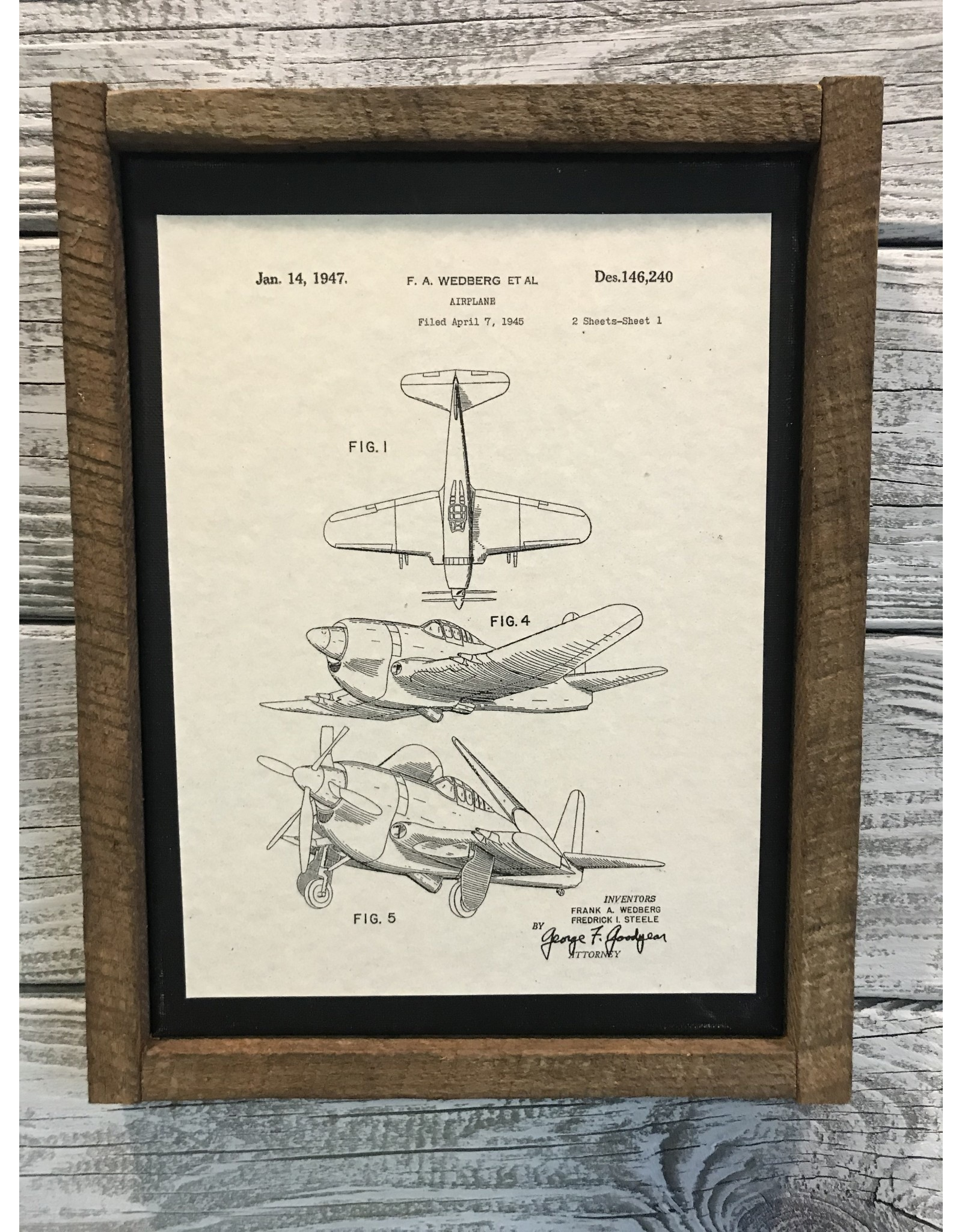 Airplane - Wedberg - Patent Color & Frame: Parchment/Tobacco Stick