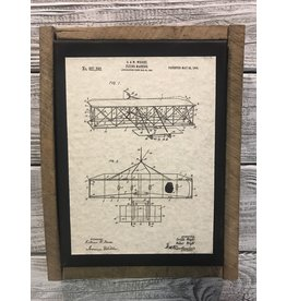 Airplane - Wright - Patent Color & Frame: Parchment/Tobacco Stick