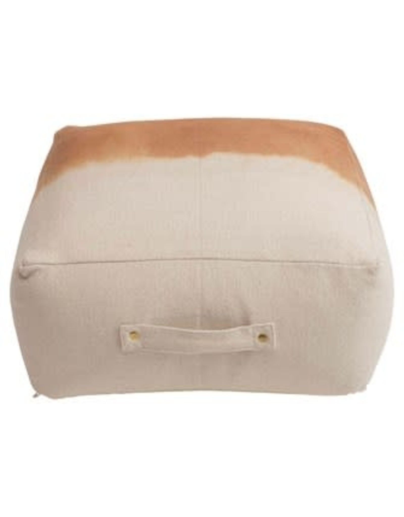 """24"""" Dip Dyed Cotton Canvas Pouf w Handle, Natural & Sienna"""