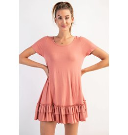 Easel Loose Fit Ruffle Tunic - Light Brick