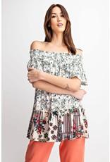Easel Floral Print off Shoulder Tunic - Ivory