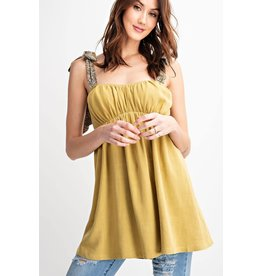 Easel Shoulder Strap Baby Doll Tunic - Wasabi