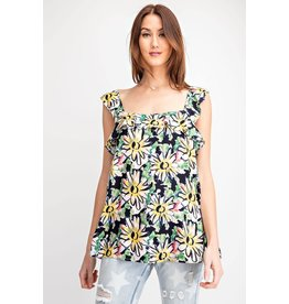Easel Floral Print Ruffle Top - Navy