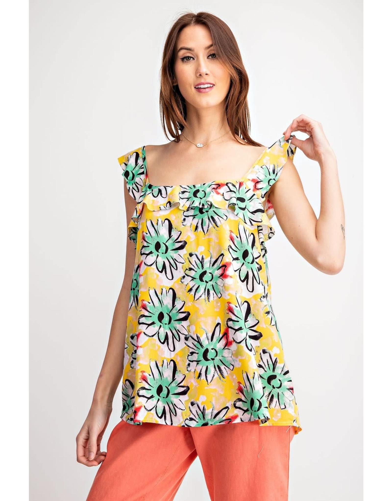 Easel Floral Print Ruffle Top - Yellow