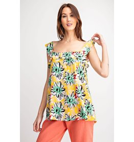 Floral Print Ruffle Top - Yellow