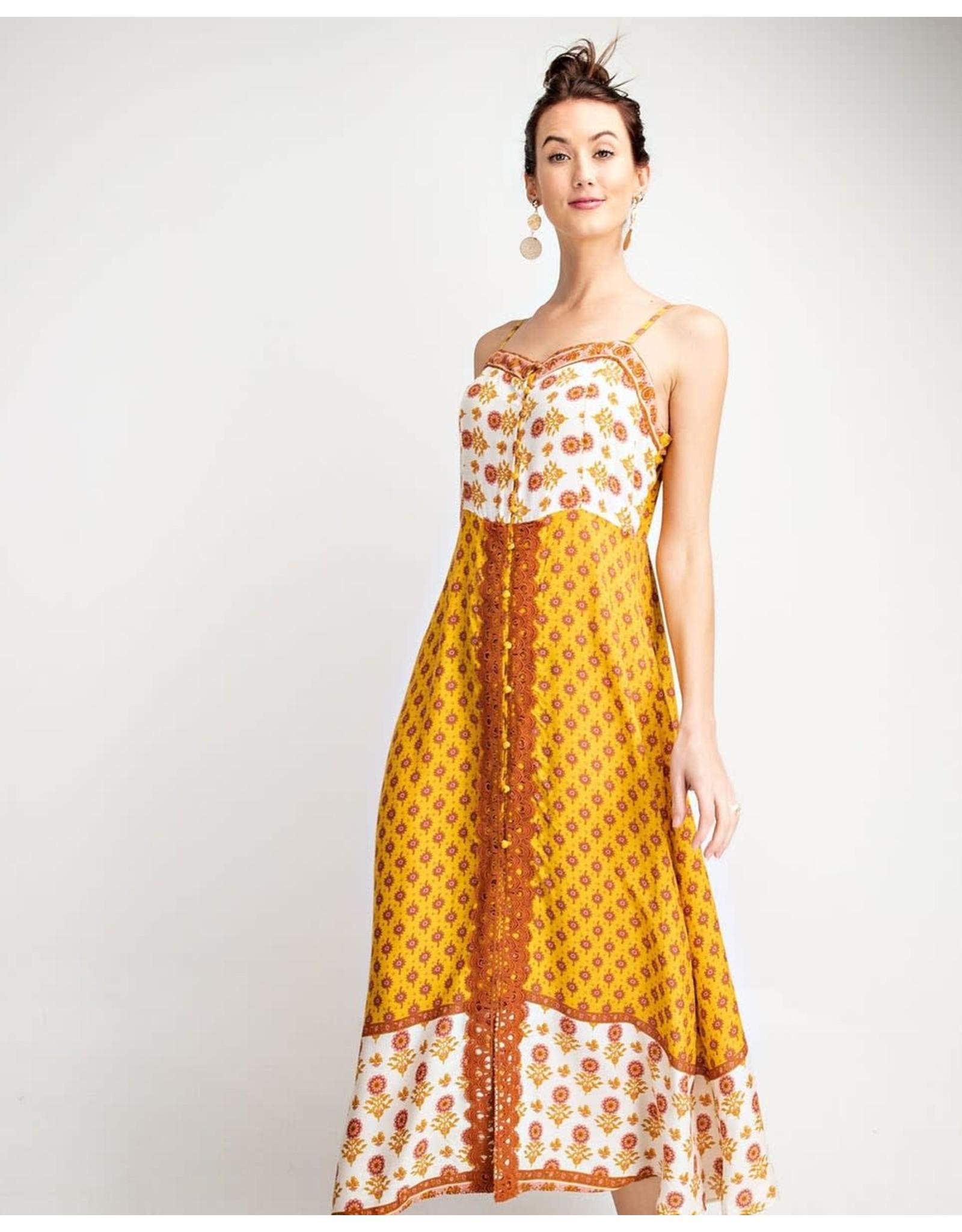 Easel Boho Floral Print Button Maxi Dress - Mustard