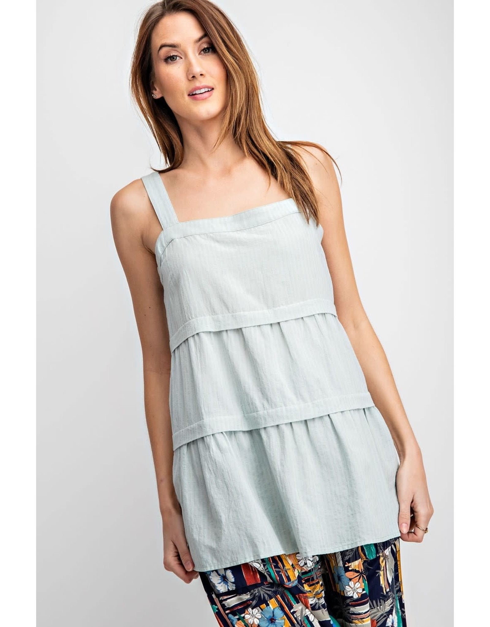Easel Textured Square Neckline Ruffle Top - Faded Sage