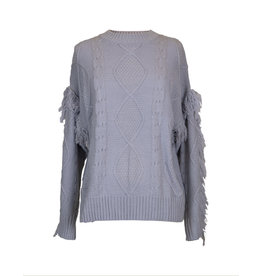 Simply Southern Fringe Sleeve Sweater - Grey