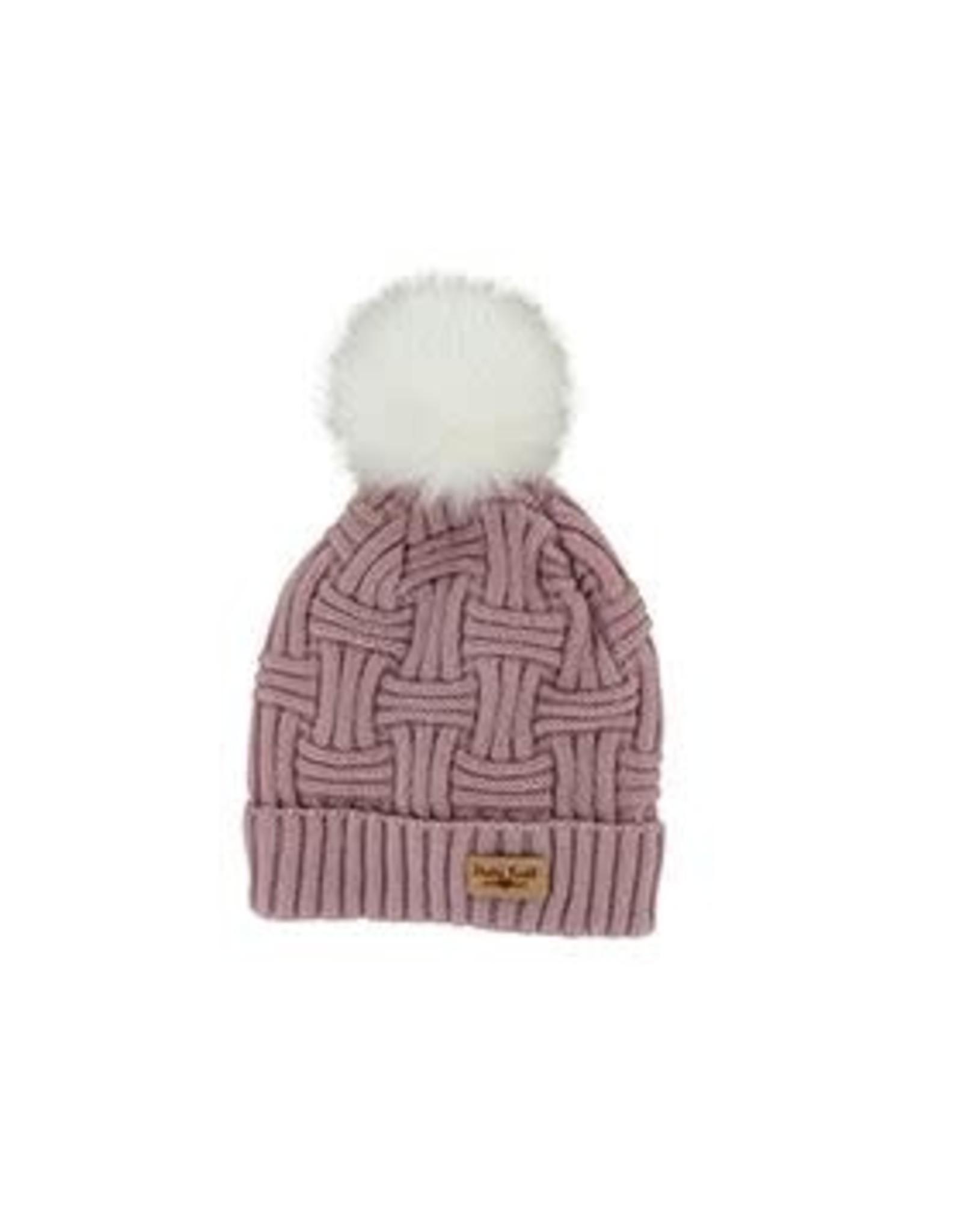 Lined Knit Hat with Pom Pom - Blush