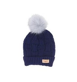 Lined Knit Hat with Pom Pom - Navy