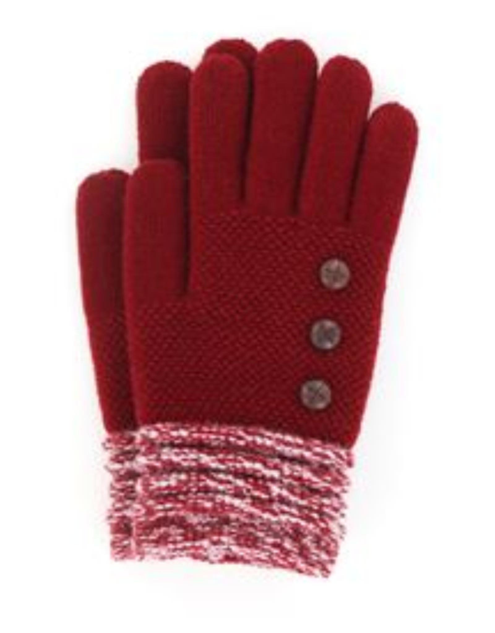Soft Knit Gloves Burgundy