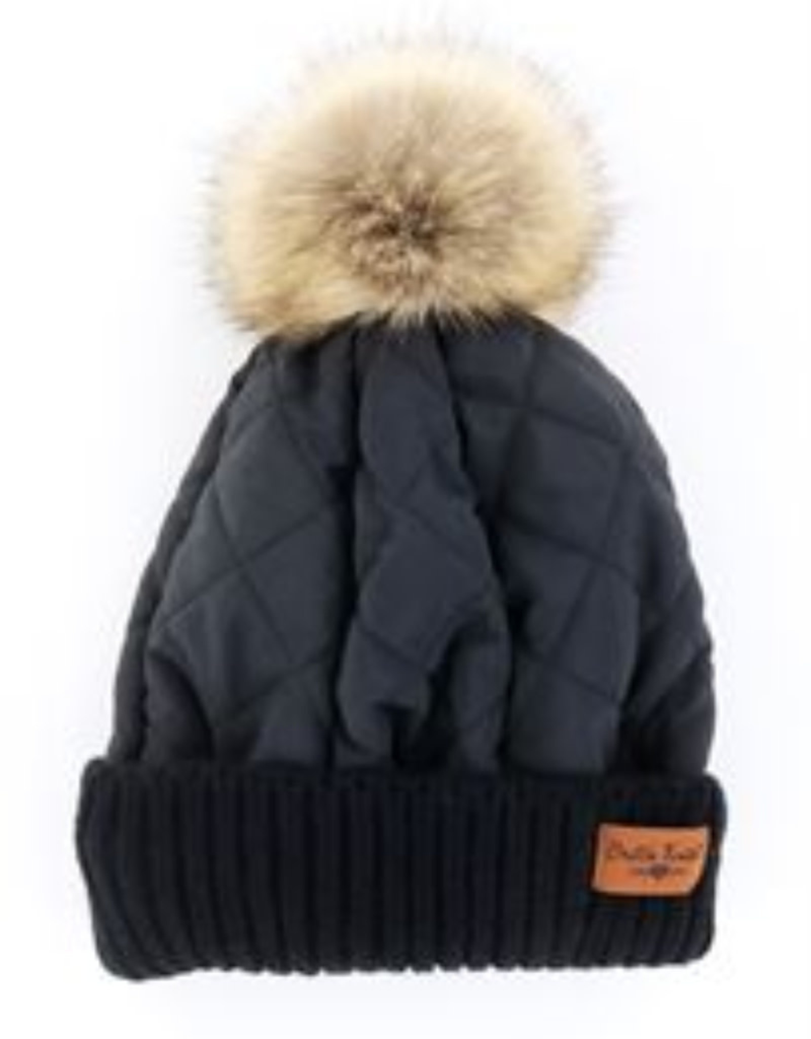 Quilted Puff Hat - Black
