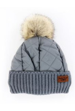 Quilted Puff Hat - Gray