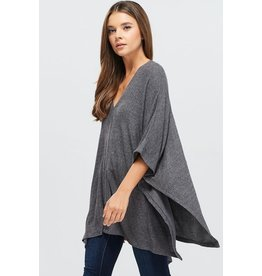 Brushed Rib Knit V-Neck Poncho Top