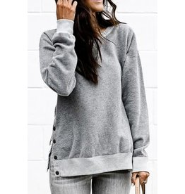 Grey Side Button Casual Top
