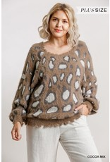 Animal Print Long Sleeve Pullover Sweater with Distressed  Hem (Cocoa)