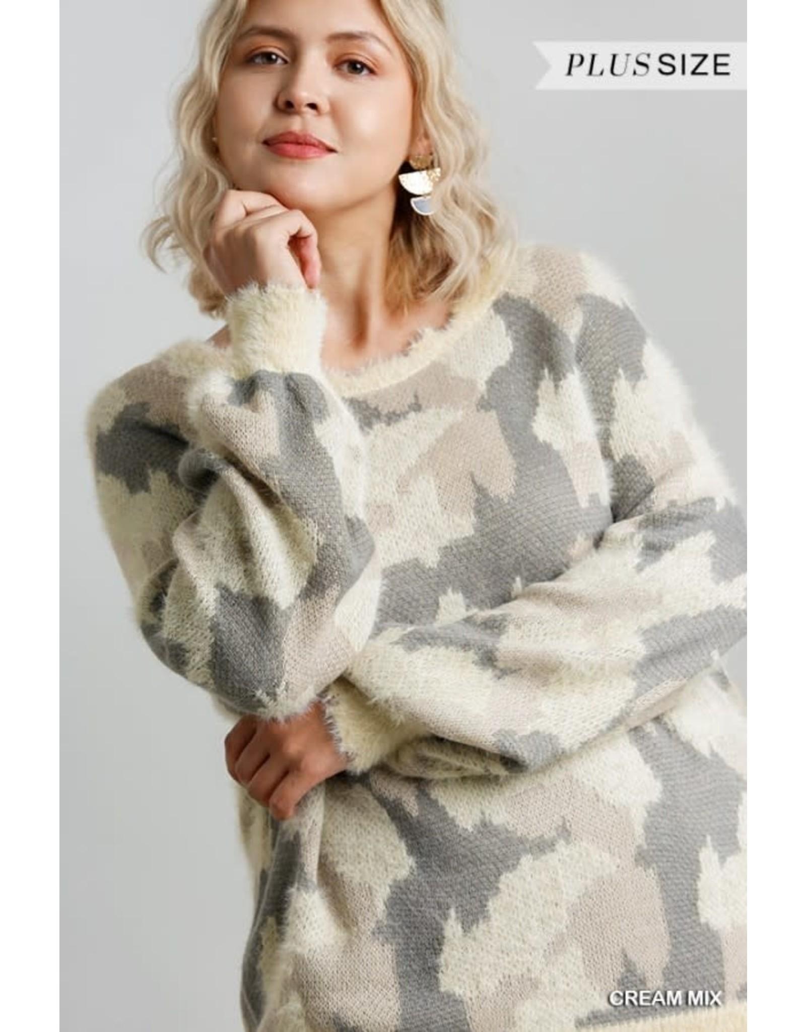 Army Print Long Sleeve Pullover Fuzzy Knit Sweater (Cream)