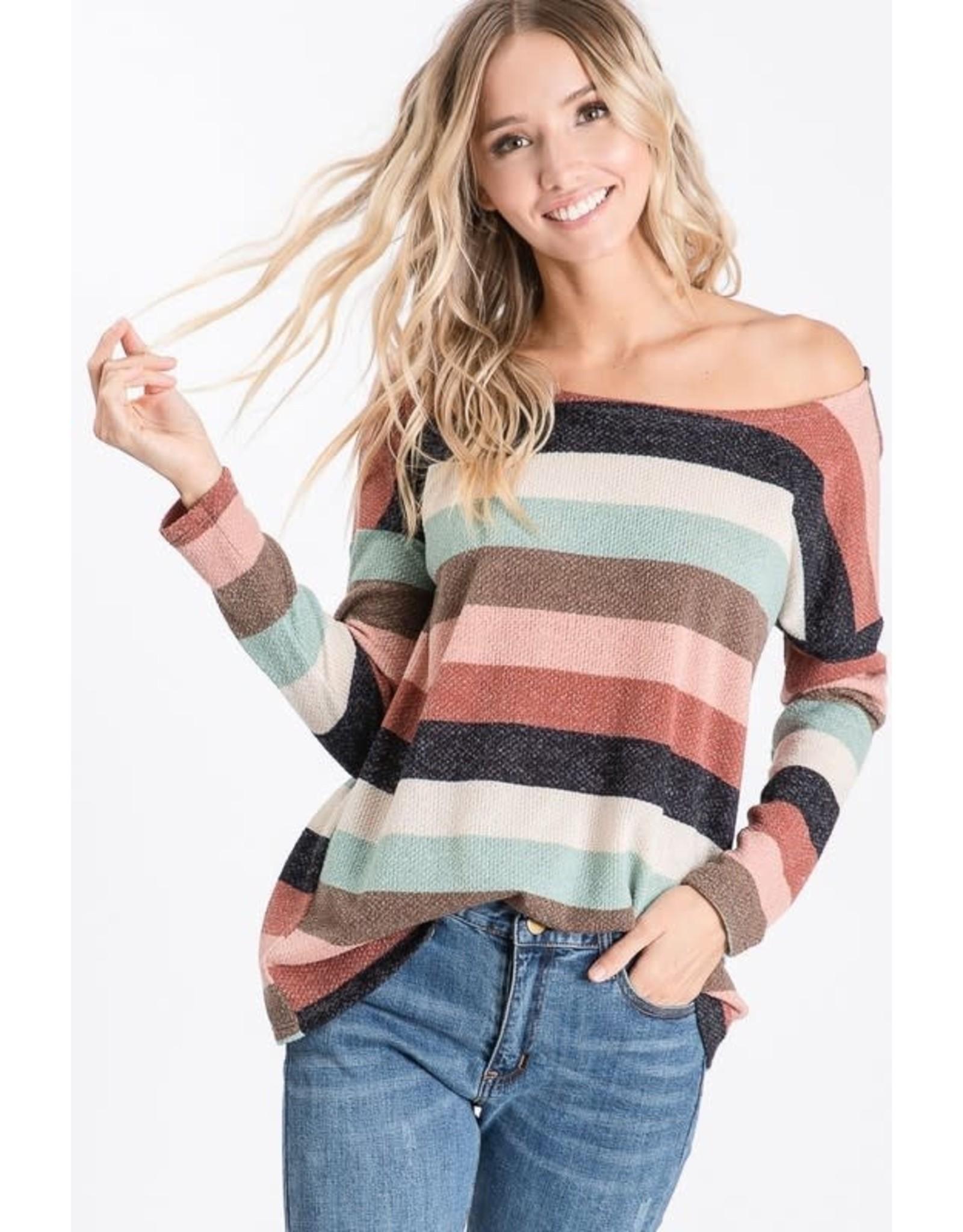 Multi Color Stripe Knit Sweater