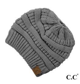 C.C. Ponytail Beanie - Light Melange Grey
