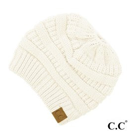 C.C. Ponytail Beanie - Ivory