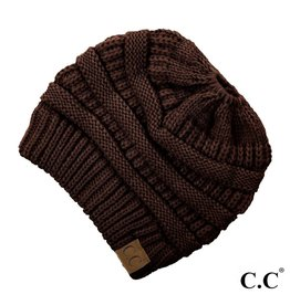C.C. Ponytail Beanie - Brown