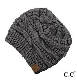 C.C. Ponytail Beanie - Dark Melange Grey