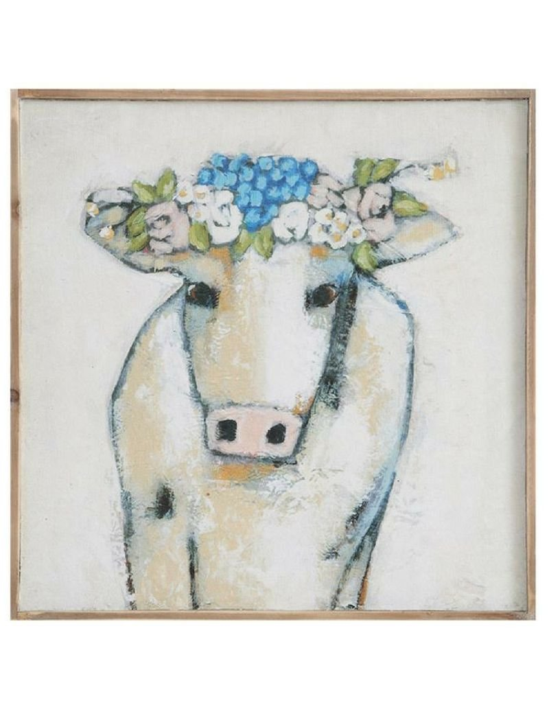 Framed Canvas - Cow with flowers