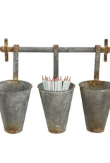 Hanging Metal Buckets with Bar