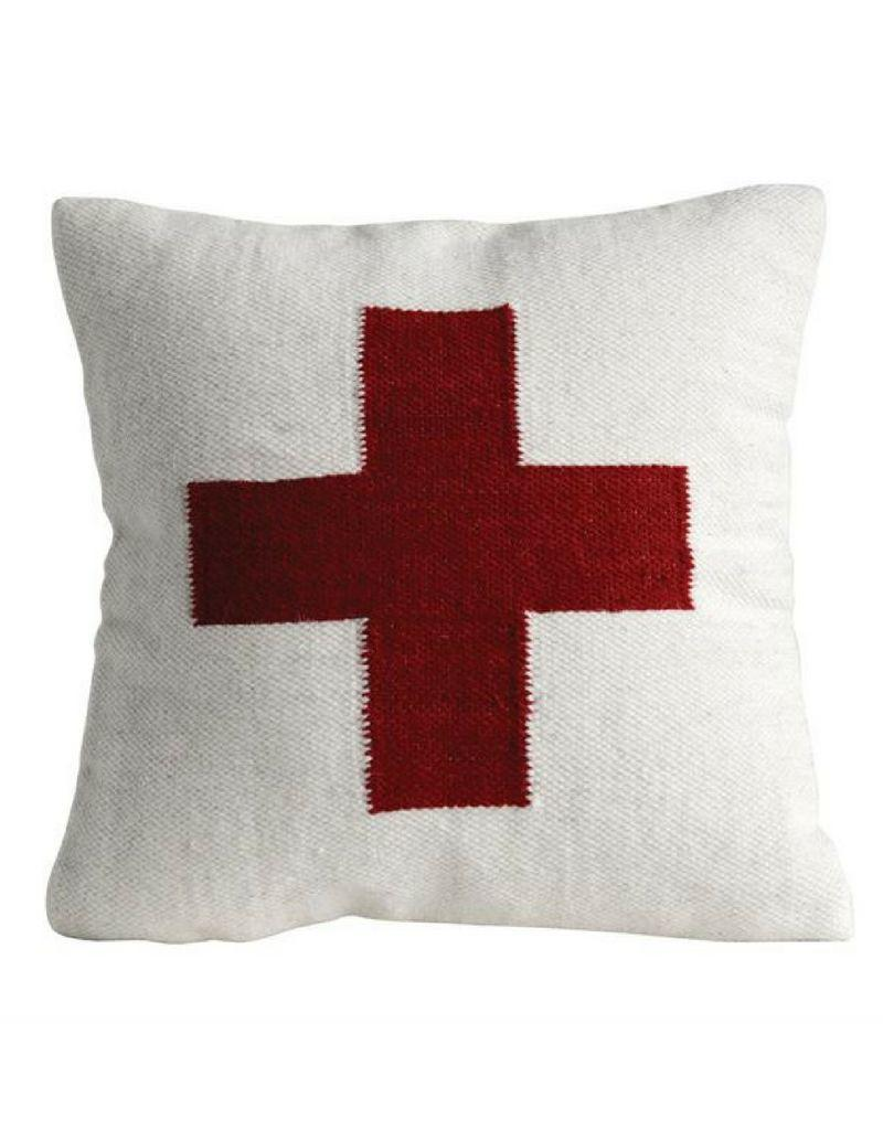 Red Cross Square Wool Pillow
