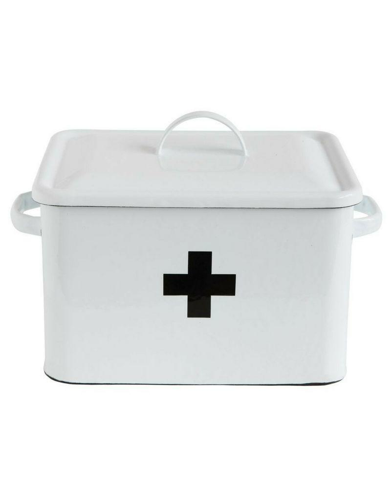 Enameled First Aid Box with Lid