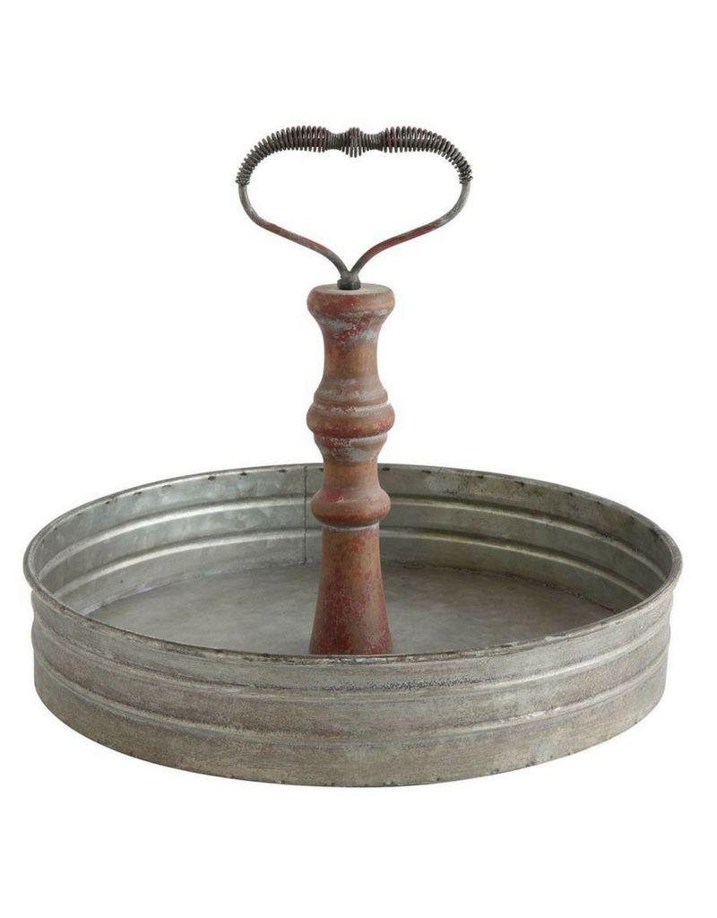 Round Tin Tray with Handle