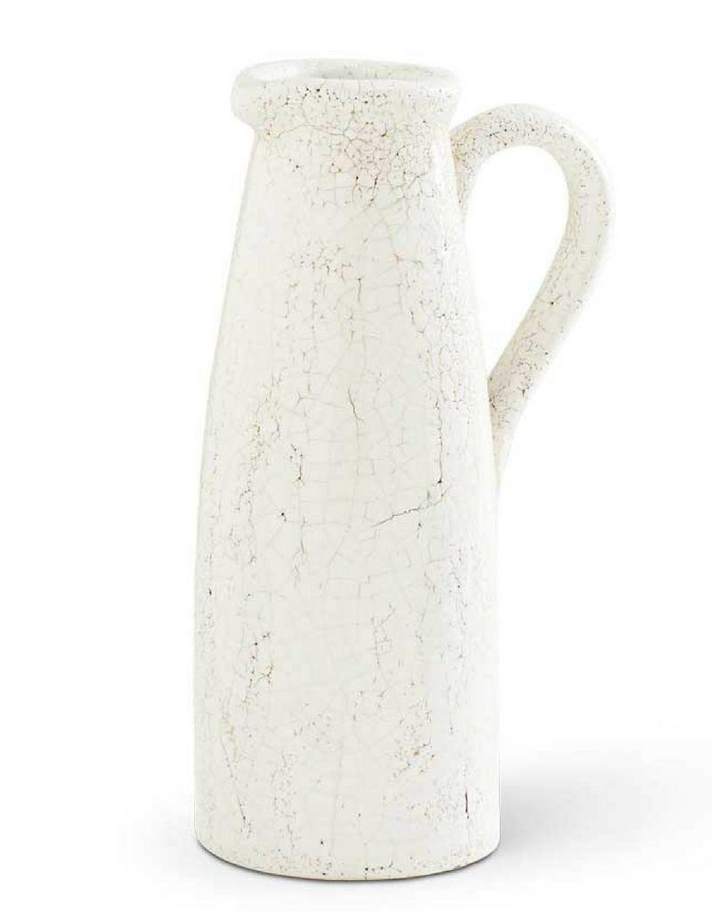 White Ceramic Crackled Pitcher - 11""