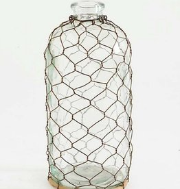 Chicken Wire Glass Bottle - 10.5""