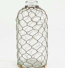 """Chicken Wire Glass Bottle - 10.5"""""""