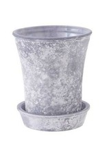 Frosty Gray Glass Flower Pot