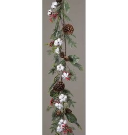 Cotton  Pinecone and Berries Garland
