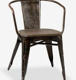 Industrial Metal Chair with Wood Seat