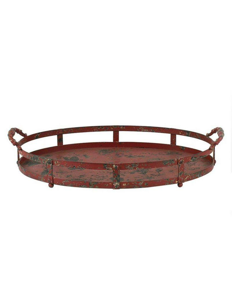Red Distressed Oval Metal Tray with Handles