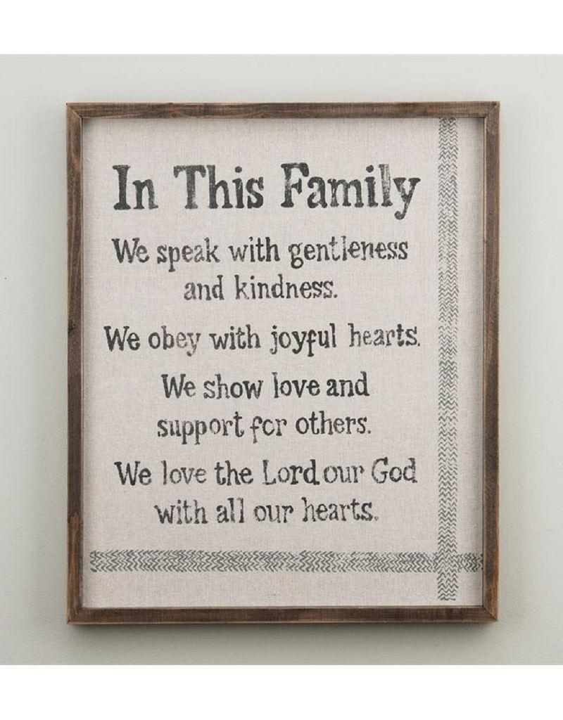 Glory Haus In This Family Framed Sign on Fabric