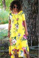 Yellow Floral High Low Dress