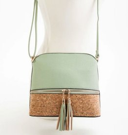 Cork Bottom Tassel Closure Crossbody Purse