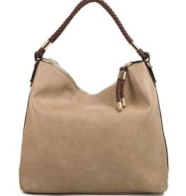 Braided Closure Hobo Handbag - Beige