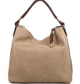 Braided Closure Hobo Handbag - Beige